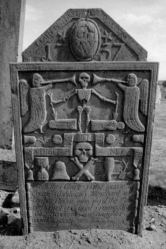 Coupar Angus Abbey Churchyard. West face of gravestone commemorating Anne Young, d.1737.
