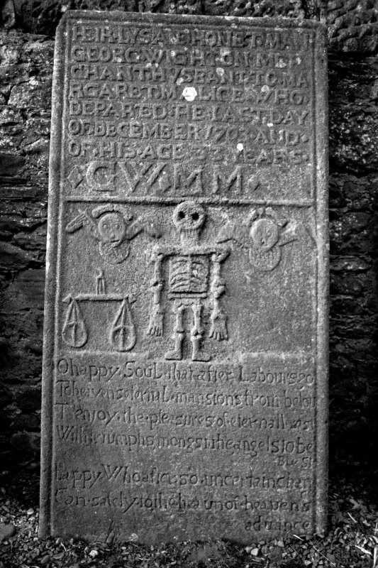 Coupar Angus Abbey Churchyard. Tablestone commemorating George Wighton, d.1703.