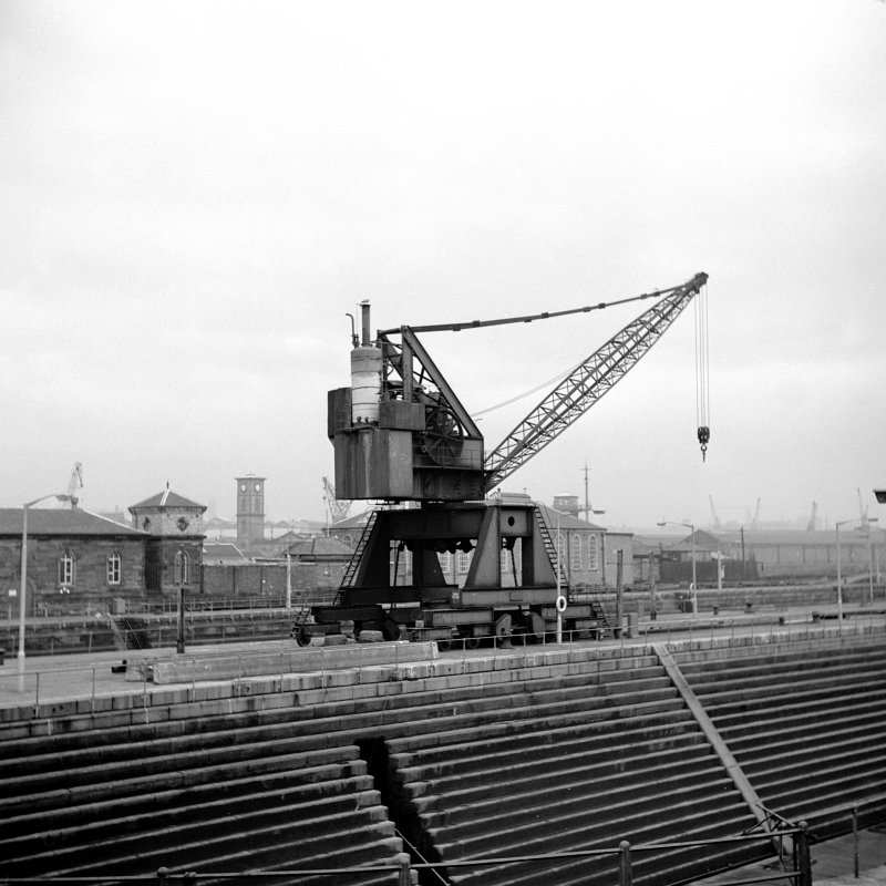Glasgow, 18 Clydebrae Street, Govan Graving Dock View of steam crane by dock side