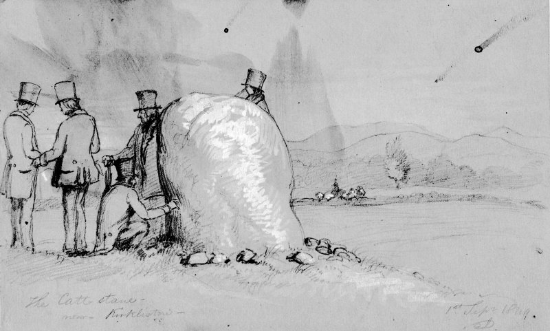 Photographic copy of drawing of the Cat Stane by J Drummond. Inscr: 'The Catt Stane near Kirkliston, 1st Sept 1849'.