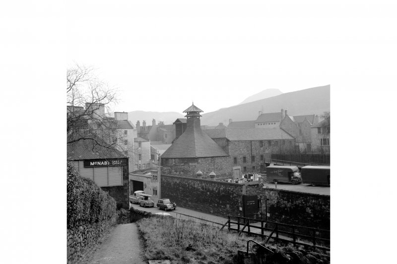Edinburgh, Calton Road, Breweries View from NNW, Craigwell Brewery in left of shot, 36 Calton Road in Background