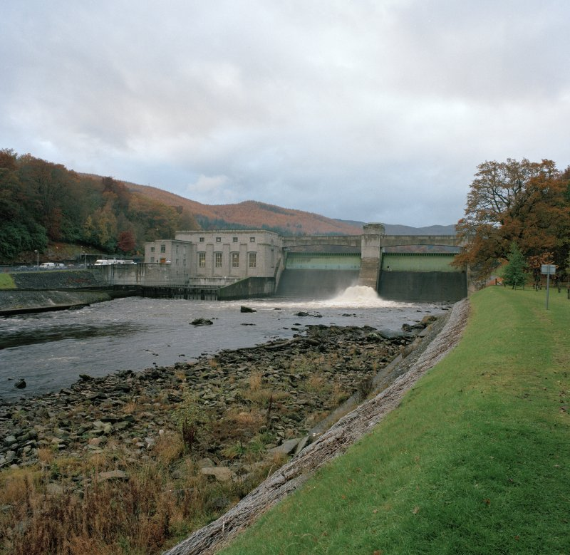 General view of power station and dam from E