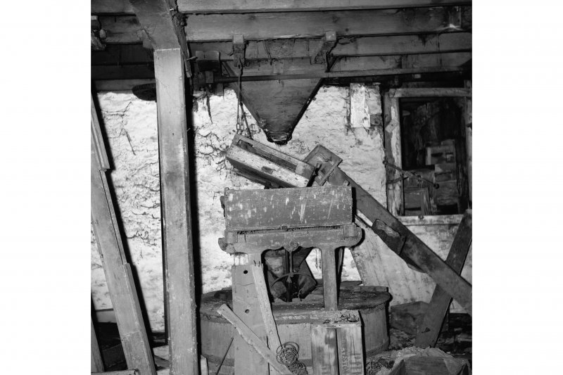 Meikle Millbank Mill; Interior View of grindstones and hopper
