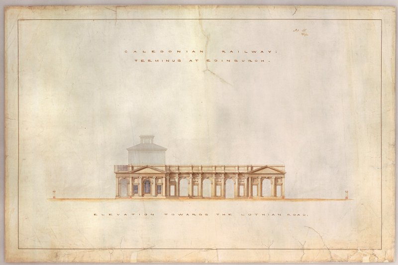 Drawing of Caledonian Railway, Terminus at Edinburgh after conservation treatment, showing the elevation towards the Lothian Road.