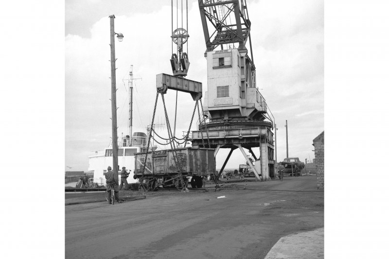 Ayr Harbour View from ESE showing crane lowering truck