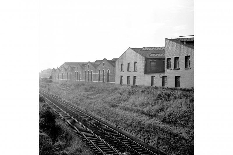 Coplaw Tram Depot General view from ENE showing SE front (railway front)