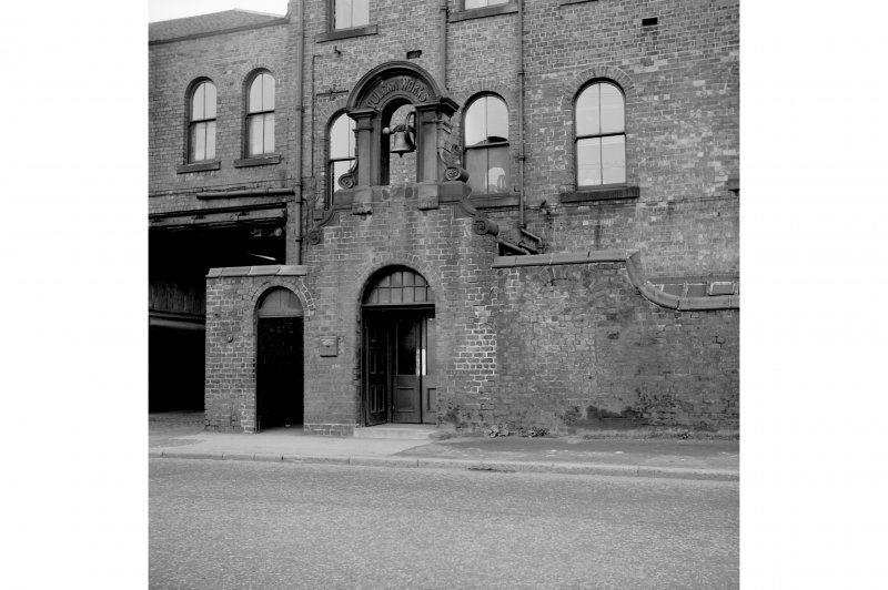Paisley, Renfrew Road, Vulcan Works View from W showing WNW front of doorway which is surmounted by a bellcote
