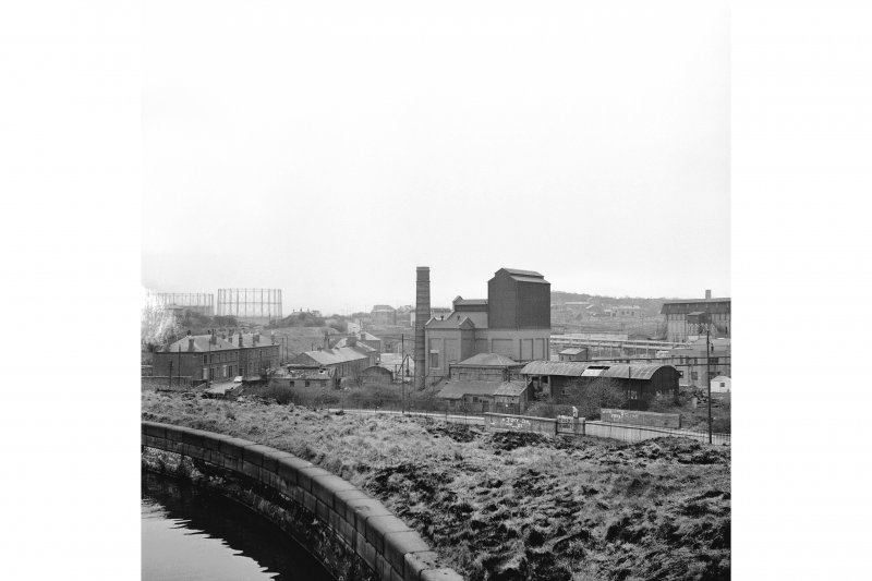Glasgow, Dawsholm Gasworks View from S, from Forth and Clyde Canal. Vertical retort house (centre)