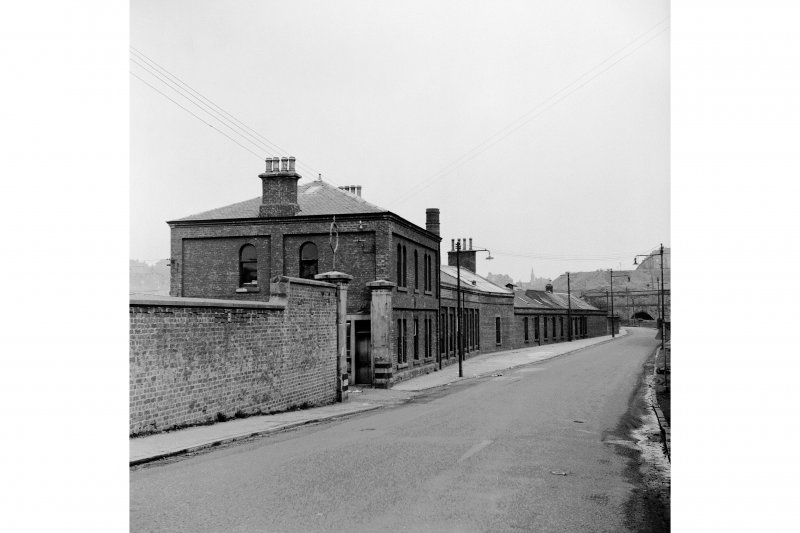 Glasgow, Dawsholm Gasworks View of office buildings (demolished, formerly at NS56014 69069) , Skaethorn Road from west