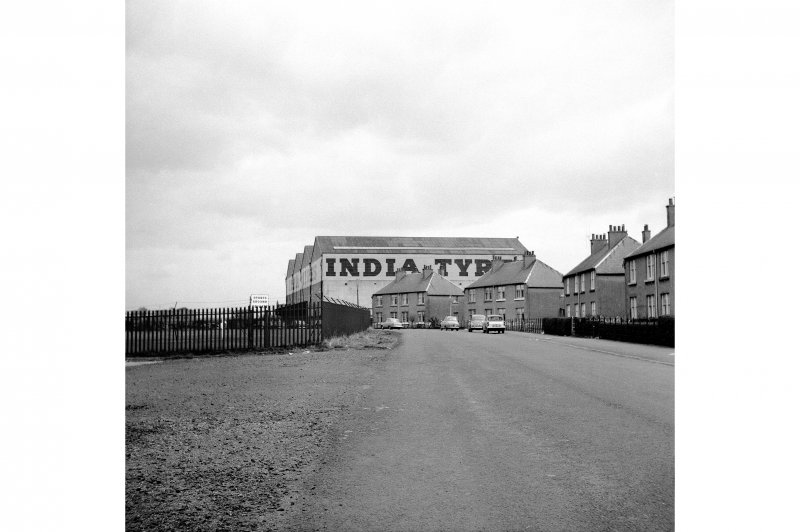 Inchinnan, Greenock Road, India Tyre Factory View along Allands Avenue, from W