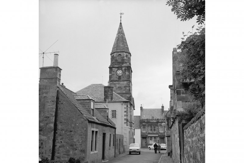 Falkland, High Street, Town Hall View from SE showing SSE front of Town Hall steeple with cottage in foreground and post office in background