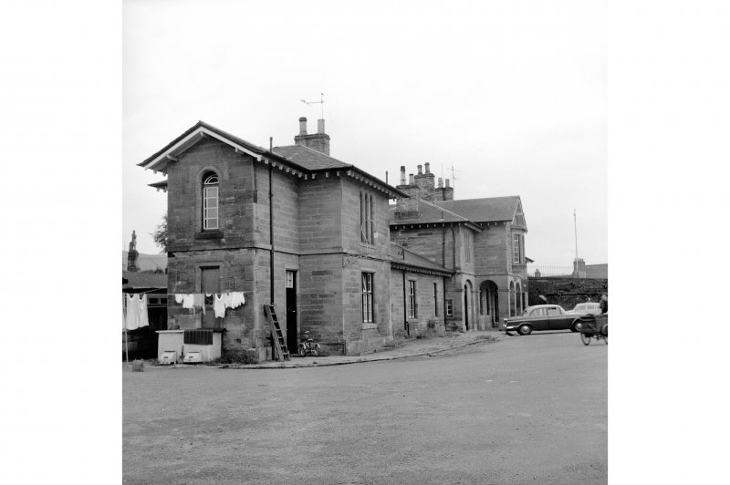 Cupar, Station Road, Station and Associated Buildings View from N showing NNE and NW fronts of N end pavilion of main station building with central part of main station building in background