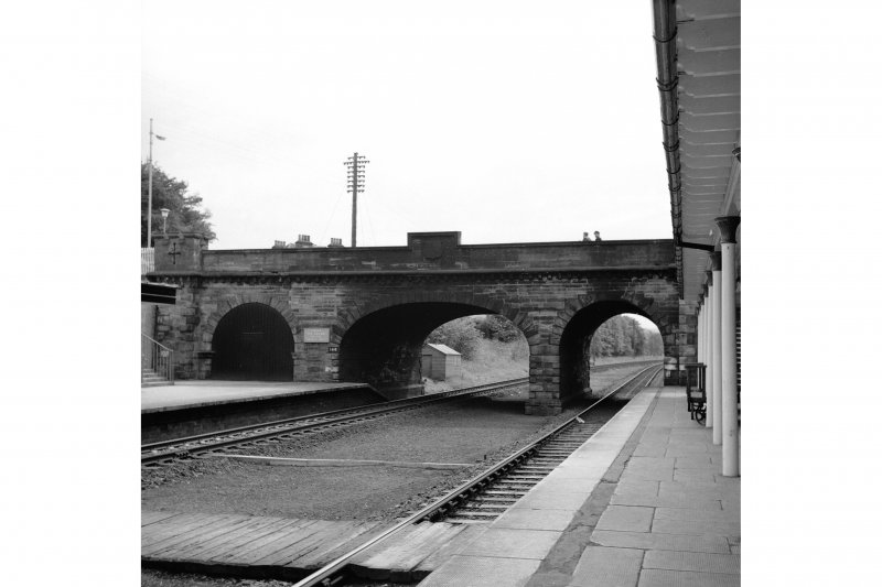 Cupar, Station Road, Station and Associated Buildings View from N showing part of awning of main station building and NNE front of bridge