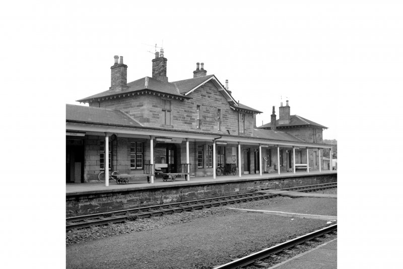 Cupar, Station Road, Station and Associated Buildings View from S showing SE front of central part of main station building with N end pavilion of main station building in background