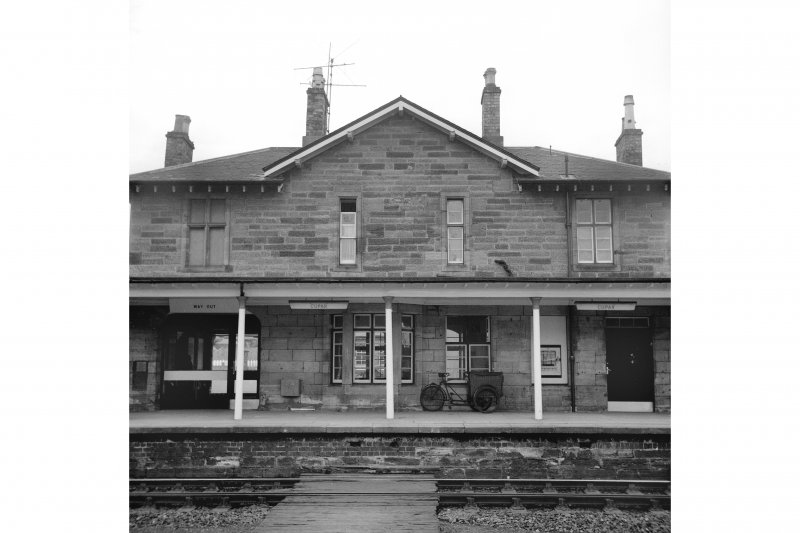 Cupar, Station Road, Station and Associated Buildings View from SE showing SE front of central part of main station building