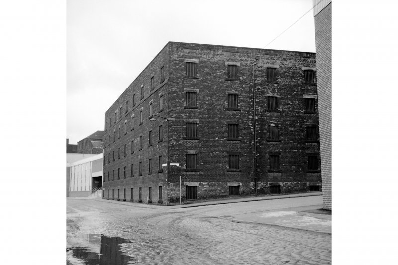 Glasgow, 76-80 North Canal Bank Street, Port Dundas Distillery View of warehouse block on corner of Borron Street and Harvey Street, from SE