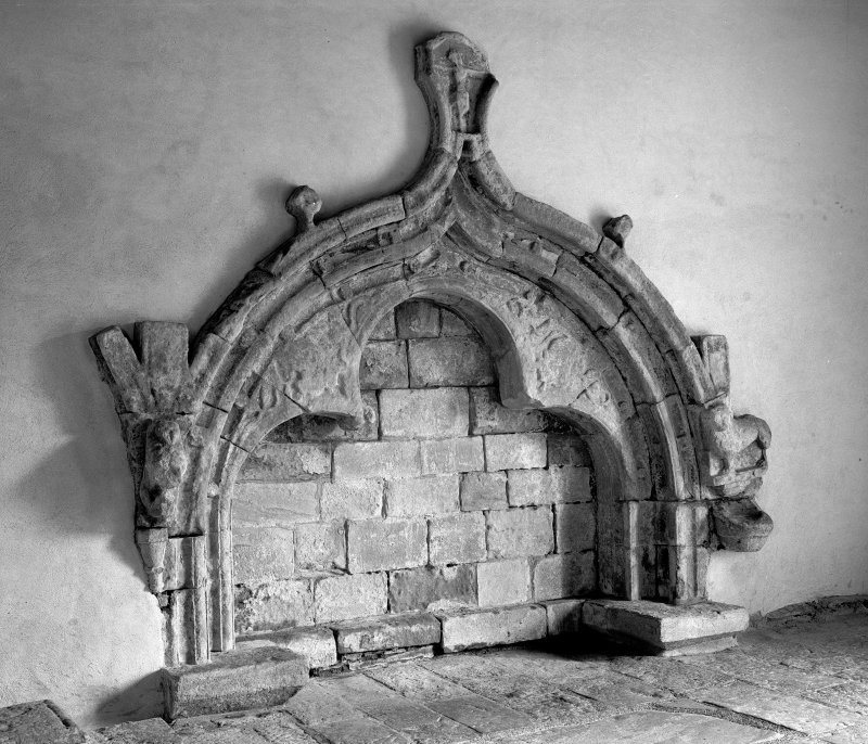 Iona, St Oran's Chapel, interior. View of canopied tomb.