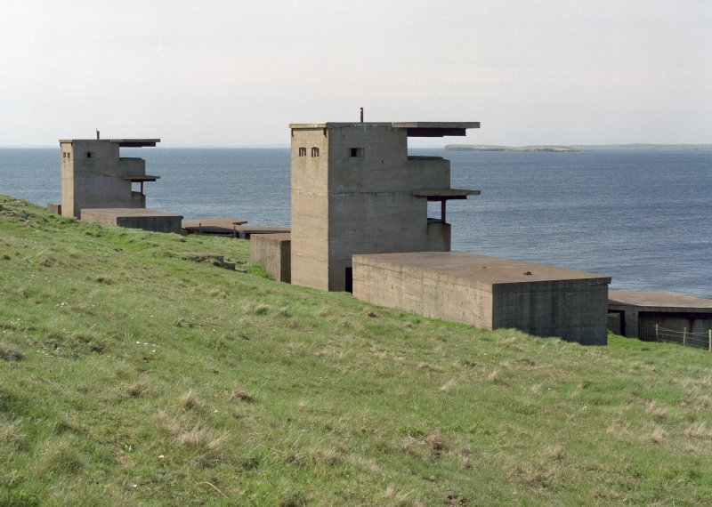 Scanned image of Battery Observation posts (towers) for  W.W.2 twin 6-pounder gun emplacements, view from North East