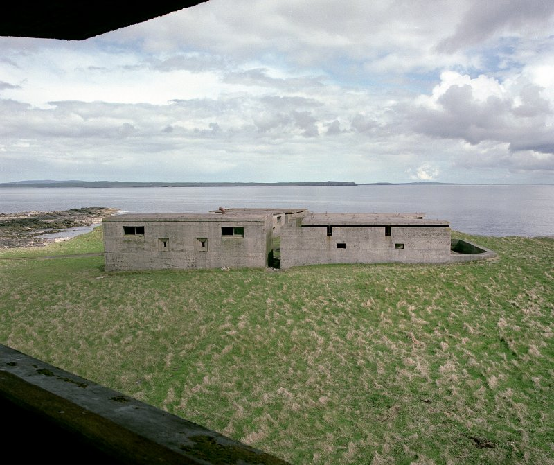 Nos.1 and 2 Gun emplacements with crew shelter building, view from battery observation post to South.
