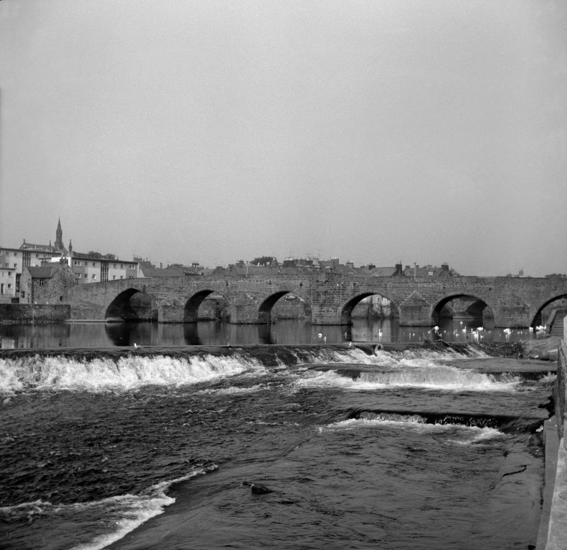 Dumfries, Old Bridge View from ESE showing SE front of Old Bridge with Weir in foreground