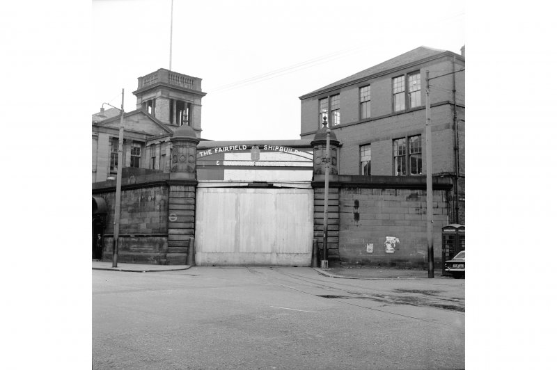 Glasgow, 1048 Govan Road, Fairfield Shipbuilding Yard and Engine Works View from SE showing entrance on SE front with buildings in background