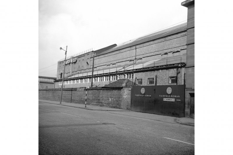 Glasgow, 1048 Govan Road, Fairfield Shipbuilding Yard and Engine Works View from SE showing part of SSW front of Fairfield Rowan engine works