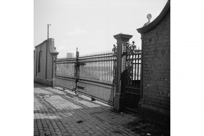 Glasgow, Clydebrae Street, Harland and Wolff Shipbuilding Yard View showing iron gates on Water Row (possible)