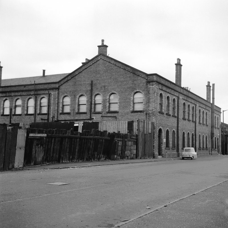 Glasgow, Springburn Road, St Rollox Locomotive Works View from SW showing SSE front and part of WSW front of W block of 321-329 Charles Street