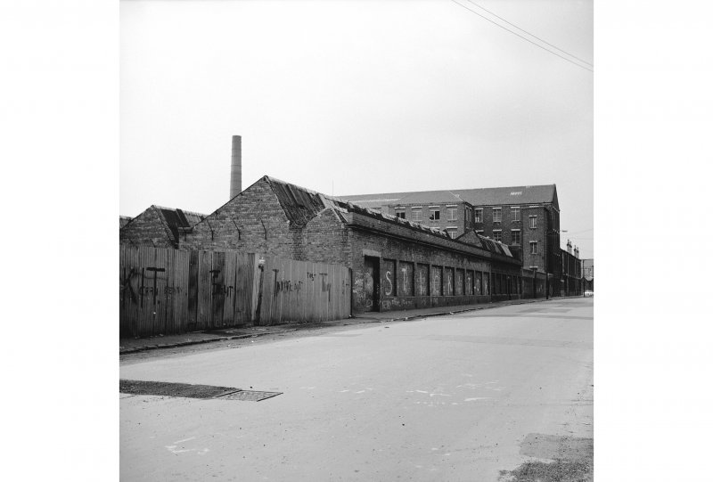 Glasgow, 26 Walkinshaw Street, Atlantic Mills View from E showing NNE front and part of ESE front of weaving sheds
