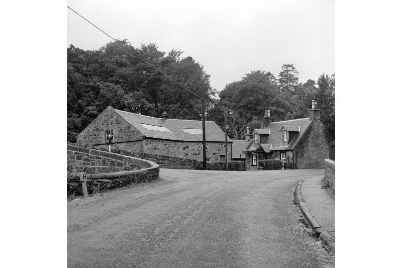 Sorn, Dalgain Mill View from SE showing part of SSE and ENE fronts of mill with cottage on right and part of bridge on left