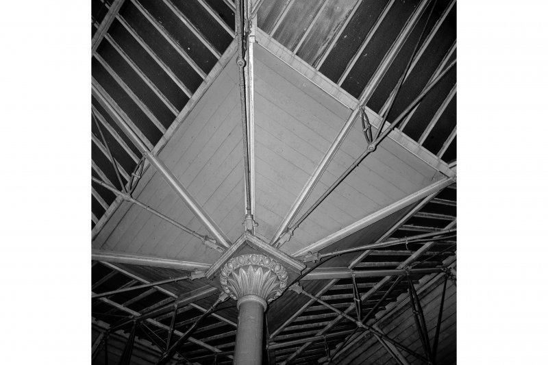 Glasgow, West George Street, Queen Street Station; Interior Detail of specimen cast-iron column and roof structure
