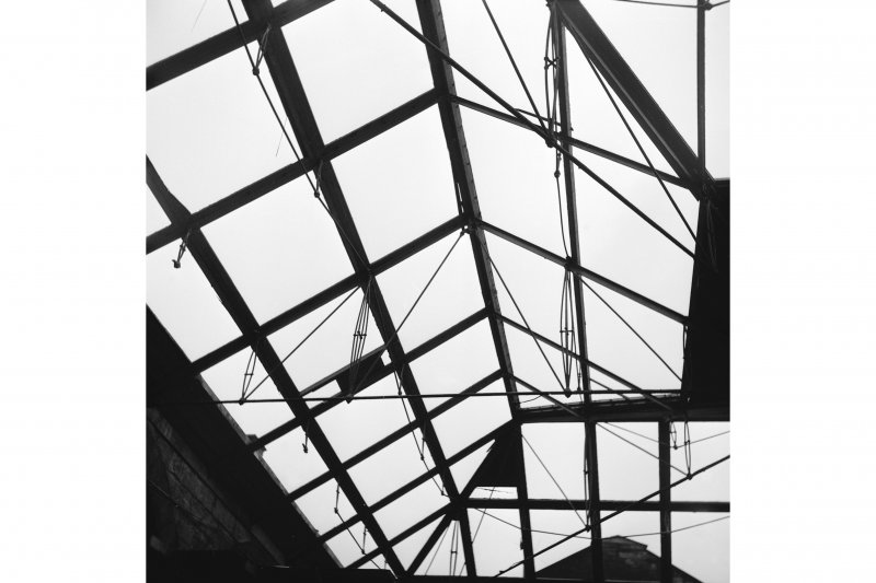 Glasgow, West George Street, Queen Street Station; Interior View upwards showing iron girder roof consruction