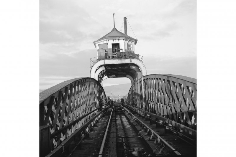 View along central section of Forth Rail Bridge, Alloa. Closed to passengers and good services in 1968. Since demolished.