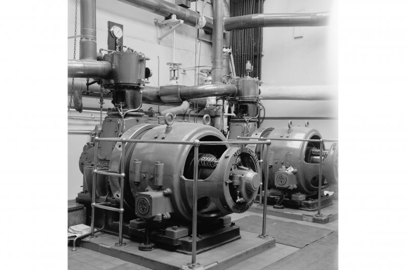 Netherplace Bleachworks, Electricity Generating Station; Interior View of single cylinder Belliss and Morcom high speed engines with Rees Roturbo generators