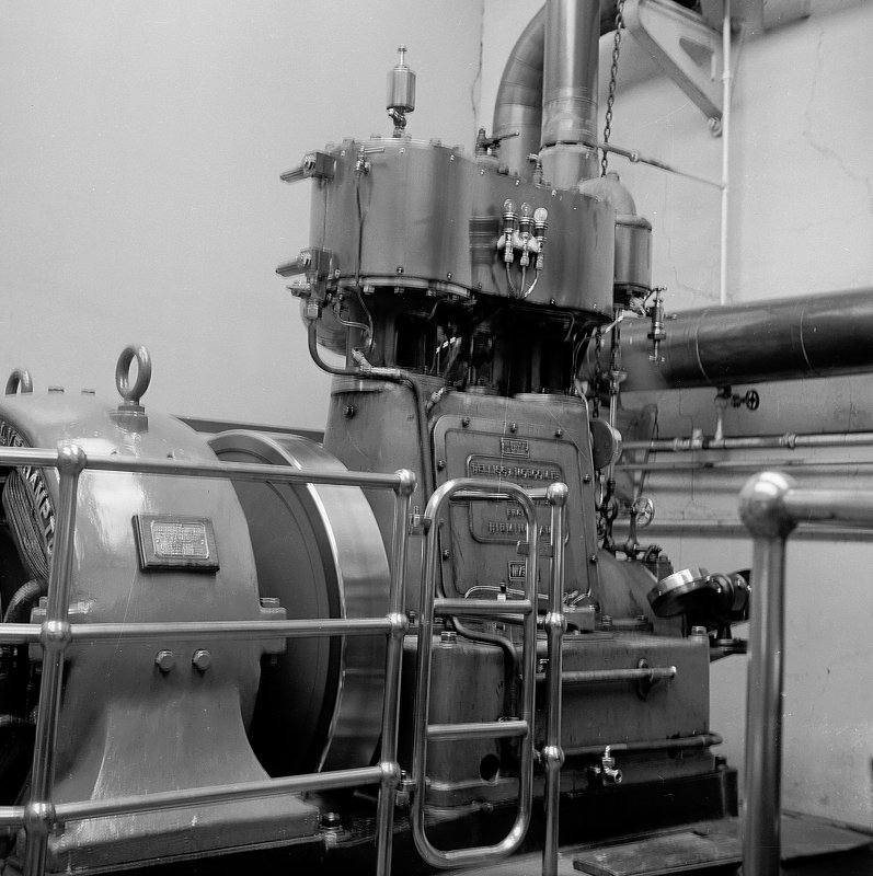 Netherplace Bleachworks, Electricity Generating Station; Interior View of compound cylinder Belliss and Morcom high speed engine with Rees Roturbo generator