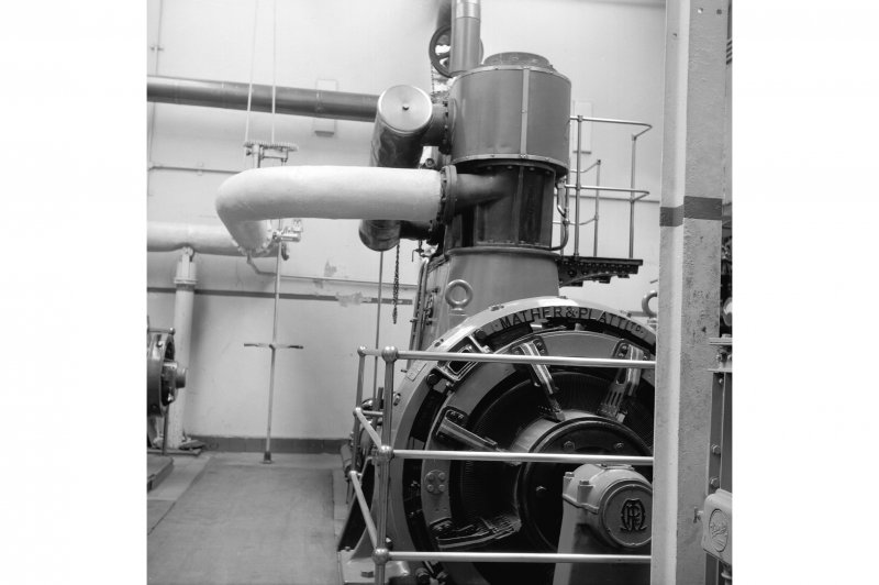 Netherplace Bleachworks, Electricity Generating Station; Interior View of compound cylinder Howden high speed engine with Mather and Platt generator