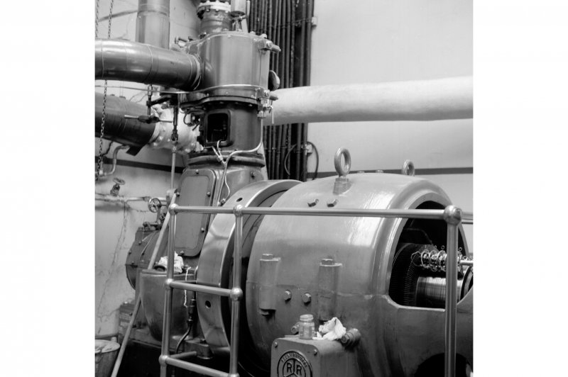 Netherplace Bleachworks, Electricity Generating Station; Interior View of single cylinder Belliss and Morcom high speed engine with Rees Roturbo generator