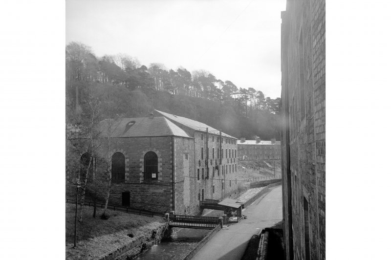 New Lanark, The Institute View from W from Nos3/4 Mill block