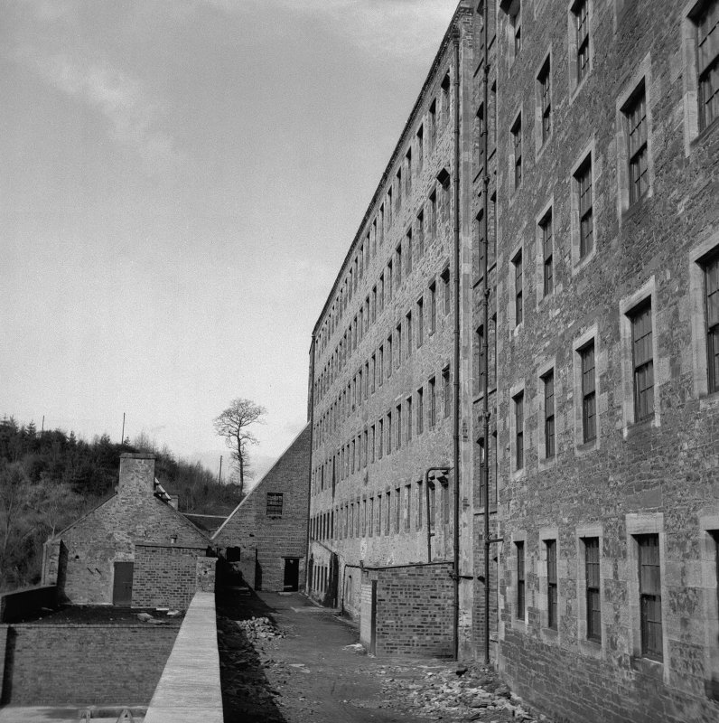 New Lanark, Mill No.2 View of rear of mill, from SE
