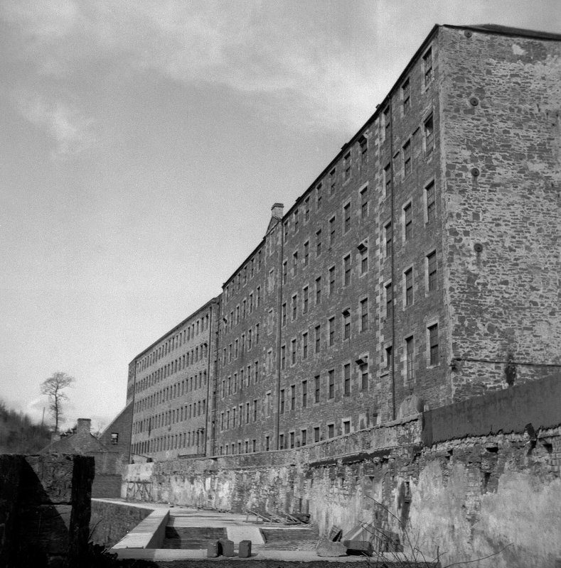 New Lanark View of rear of Mill No. 3 (foreground) and Mill No. 2 (background), from SE