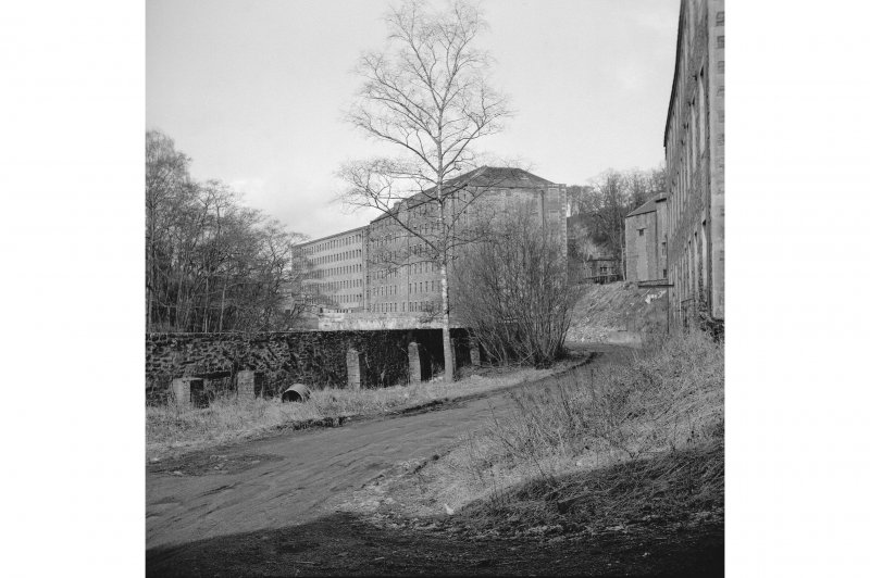 New Lanark,  Distant view of Mills No.2 and 3, from SE