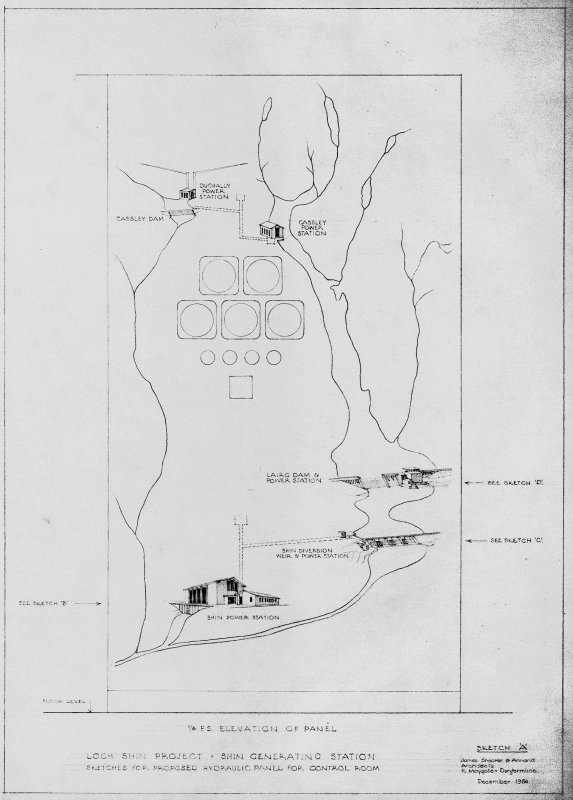 Loch Shin Generating Station. Site layout plan. Scanned image of D 73987.
