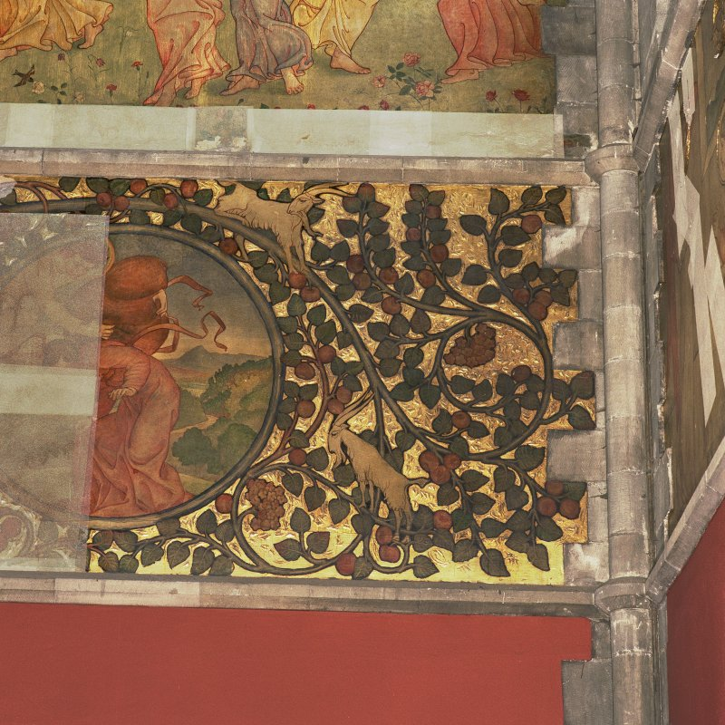 Detail of pentecostal frieze on west wall of nave