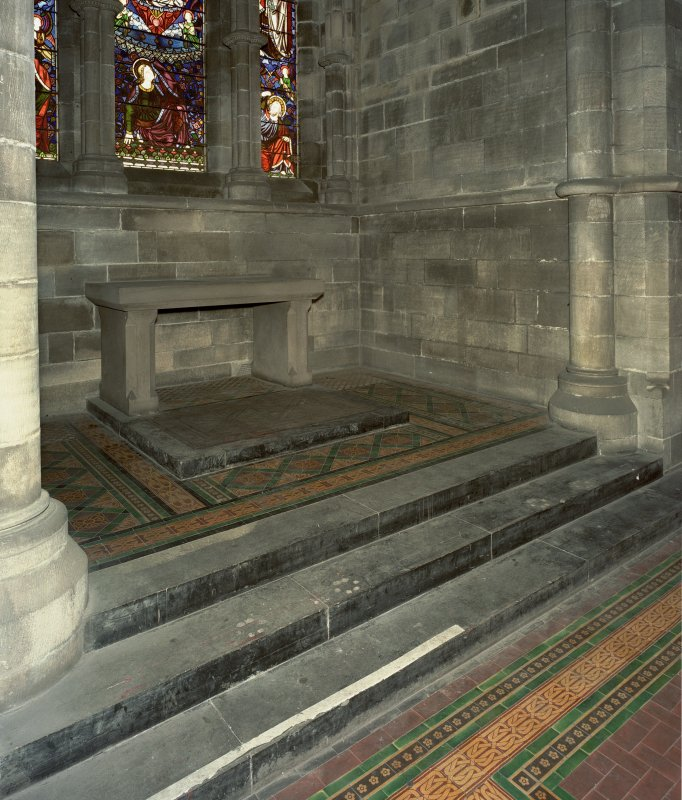 South chapel, detail of altar and floor tiles