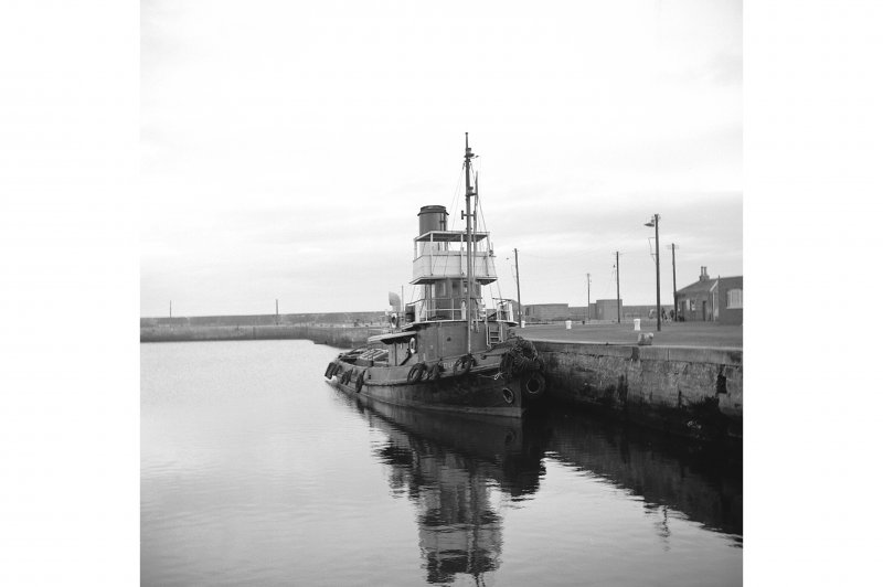 Methil Harbour View showing tug docked at harbour