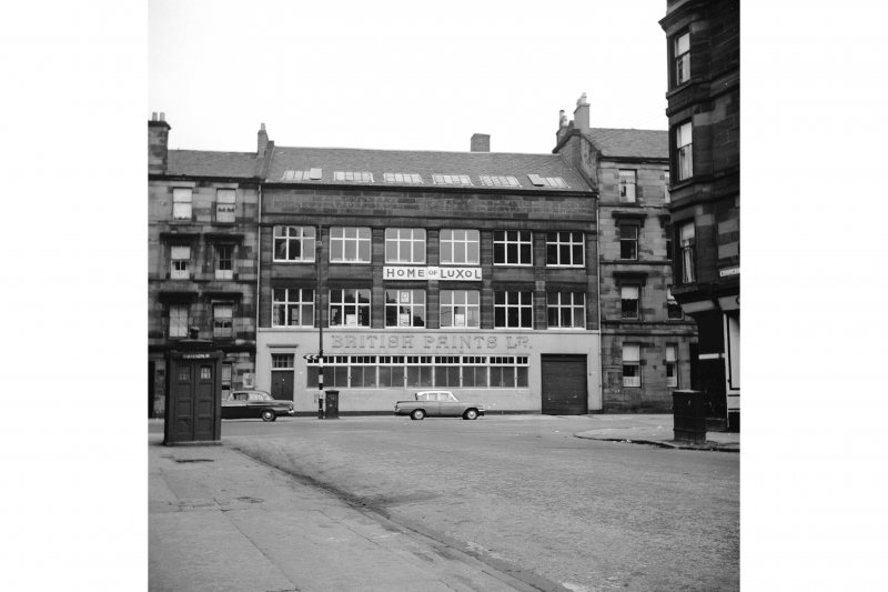 Glasgow, 57-59 Cornwall Street, St Crispin Works View from WNW showing WNW front of paint factory with police call box in foreground