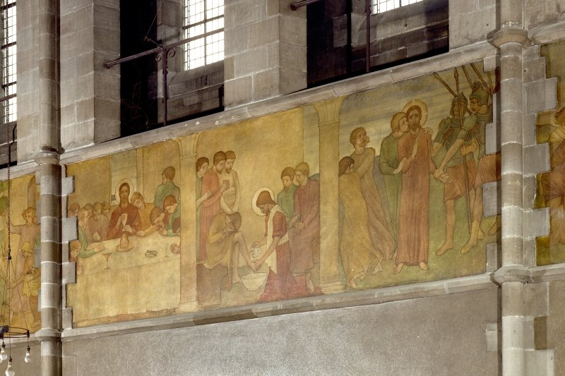 Catholic Apostolic Church, interior, nave, North wall Detail of mural showing scenes from the Passion; Last Supper, Washing the Disciples' Feet, Agony in the Garden