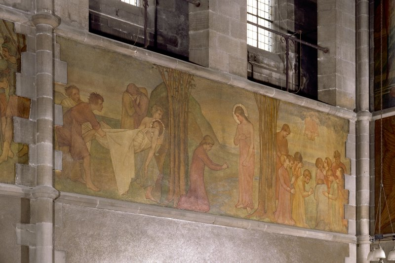 Catholic Apostolic Church, interior, nave, North wall Detail of mural showing scenes from the Passion; the Deposition, 'Noli mi tangere' and the Ascension