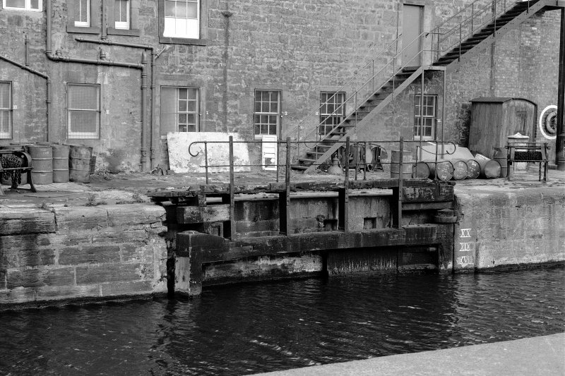 Rennie's Entrance. View of North East lock gate from South.