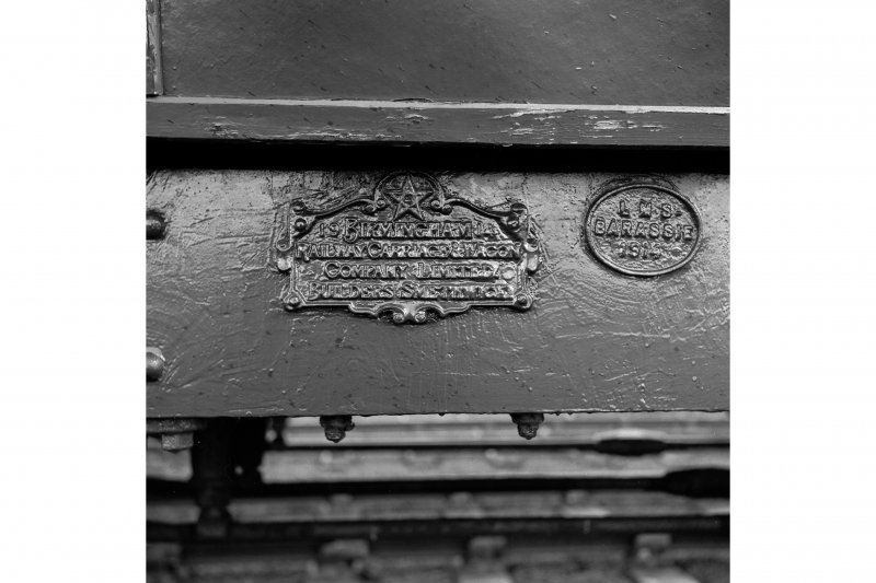 Throsk, Royal Naval Armament Depot View of maker's plate of former Glasgow and South Western Railways corridor coach